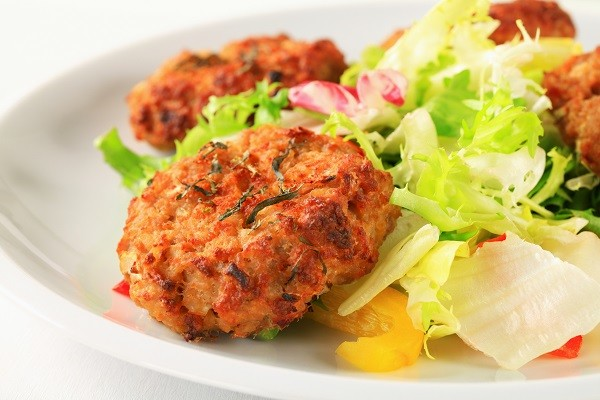 Lentil Pattie with Mustard and Vinegar Dressed Salad