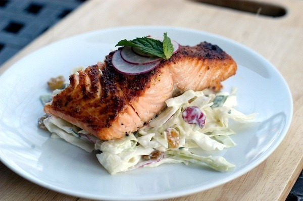 Crispy Skinned Salmon with Crunchy Coleslaw