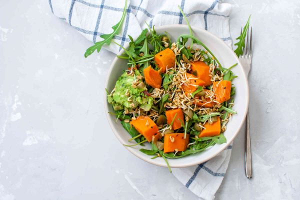 Kumara Spinach Salad + a serve of Fruit