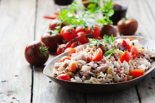 Brown Rice Salad with a serve of Protein