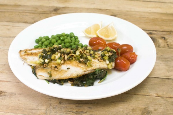 Fish with Spinach, Lemon & Pine Nuts